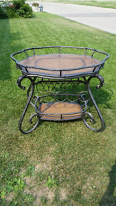 WROUGHT IRON LIQUOR TABLE AND WINE RACK