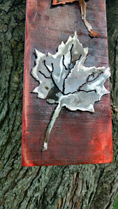Rustic plasma cut copper and steel maple leafs on maple boards Cornwall Ontario image 8