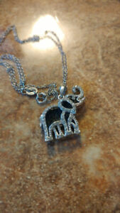 925 Lucky Elephant necklace Silver chain rhinestones