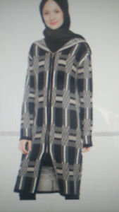 NEW ZIPPERED CARDIGAN/SWEATER KNEE LENGTH HOODED, WOOL & ACRYLIC