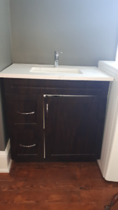 Vanity, sink, tap and popup drain