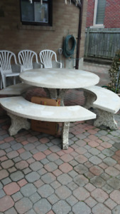 Decorative Patio/Backyard/Cottage - Concrete Table with Seating