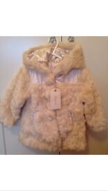 Girls New Faux Fur Ivory coat **Age 2 years**