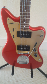 Squier Deluxe Jazzmaster Candy Apple Red, great condition, Gator Hard