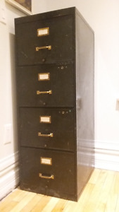 Antique 1930s Filing Cabinet - Industrial Brass Finish
