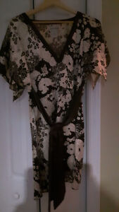 Brown and white floral dress