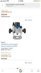 Bosch 2.3 HP plunge base router