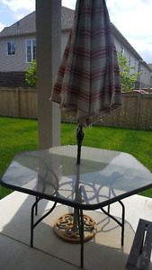 Outdoor Glass Table and Umbrella