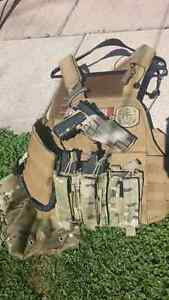Airsoft paintball tan Molle plate carrier loaded with all the Go
