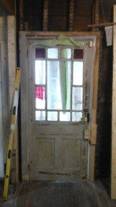 Vintage original victorian front and french door with pine jambs