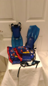 Kids Snorkel fins and goggles, etc