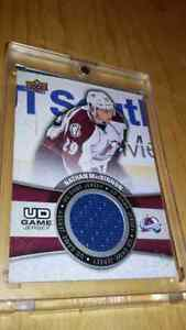 Nathan mackinnon game used Jersey card