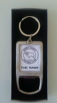 Derby County keyring bottle opener. Polished metal.  Ideal gift