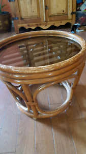 Rattan side table 15x17