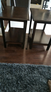 2, espresso finished, end tables.$20 each