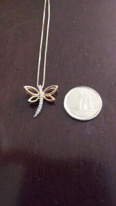 10kt Yellow Gold and Diamond Dragonfly Pendant