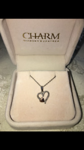 Sterling silver with rose gold heart accent and diamond necklace