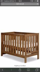 Next Highbury cot bed, 3 height settings and converts to toddler bed comes with instructions