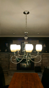 Wood/nickel Chandelier