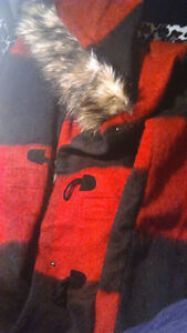 BB Dakota Faux Fur Trim Buffalo Plaid Anorak