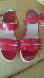 New Amalfi wedge red patent sandals 35.5 for sale