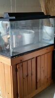 33 GALLON Aquarium tank with Wood Cabinet Stand and canopy