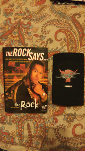 WWE The Rock book and elbow pad