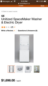 New stackable GE washer and dryer for sale