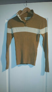 Tommy Hilfiger Light Brown Ribbed Turtleneck Sweater Small