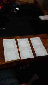 6 Apple White Decal Stickers (3packs of 2)