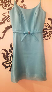 After Six - Size 6 - Turquoise Blue Tea Length Bridesmaid Dress