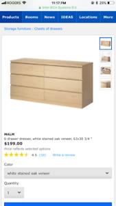 IKEA MALM bedroom set for sale - white stained oak veneer