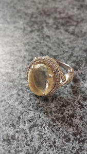 Silver ring with Large citrine and white sapphires 250 OBO