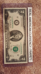 Rare $2 American  bill from the USA.