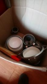 Free kitchen stuff! Pots plates etc
