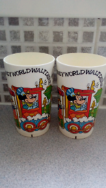 Vintage Mickey Mouse Beakers in nice cond! Viewing on garden table!!