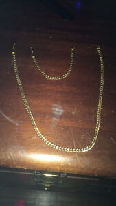 18k gold plated men's bracket and necklace