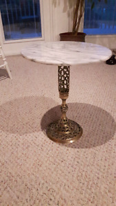 Lovely Round Grey Marble Curio Table with Brass Stand