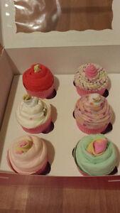 baby onesies/receiving blankets cupcakes