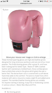 High end real leather boxing gloves 12oz. - pink