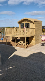 Play house, climbing frame, garden shed, fencing, patio decking etc