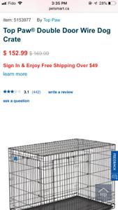 Top paw XL double door wire dog crate