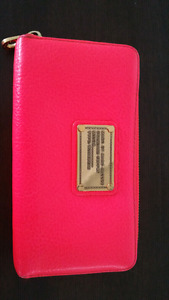 Marc Jacobs Leather Wallet - Neon Orange/Red