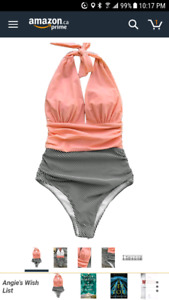 New Cupshe womens halter one piece swimsuit