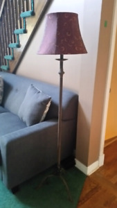2 Floor lamps with red lamp shades