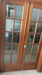 Antique Solid Oak French Doors with Glass