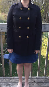 Black Pea Coat with Gold Buttons (spring/fall coat)