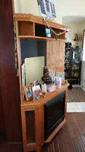 Corner Entertainment Unit with Electric Fireplace