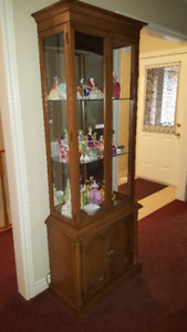 Mirrored Back, with overhead Light Display Cabinet