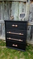 Trendsetting, retro walnut dresser with copper pipe pulls!